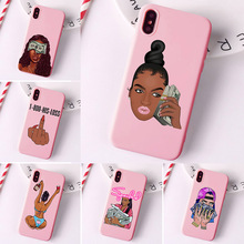 MAKE MONEY Not Friends Kash Black head Girl Fundas phone case for iPhone X XR XS Max 8 7 6s Plus Matte Candy Pink Silicone Case make money not friends куртка