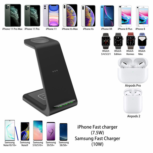 3 in 1 Wireless Charger 10W Fast Charging for iPhone 11 pro/XR/Xs Max Samsung for Apple Watch 5 4 3 Airpods pro with EU Charger 6