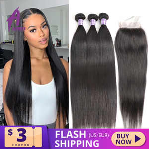 Image 1 - Alimice Indian Straight Human Hair Bundles With Closure 3 Bundles Hair Extensions With Closure Remy Lace Closure with Bundles