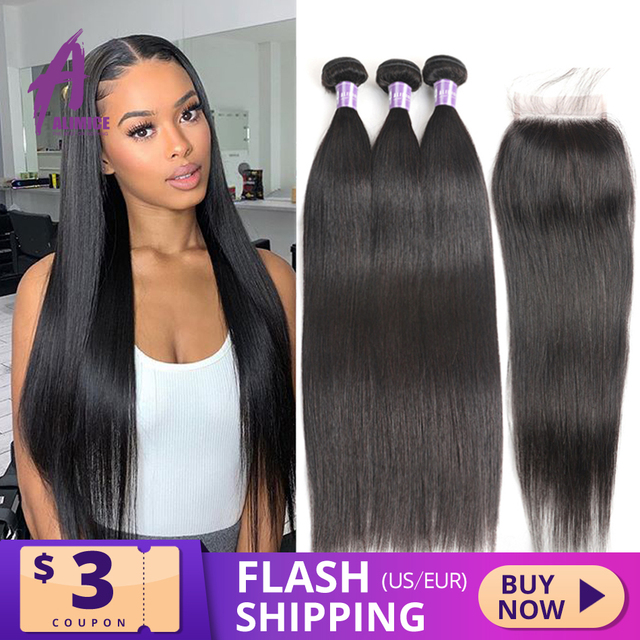 Alimice Indian Straight Human Hair Bundles With Closure 3 Bundles Hair Extensions With Closure Remy Lace Closure with Bundles