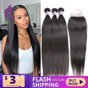 Image 1 - Alimice Indian Straight Menselijk Haar Bundels Met Sluiting 3 Bundels Hair Extensions Met Sluiting Remy Lace Sluiting Met Bundels