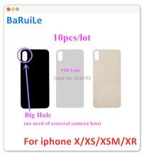 BaRuiLe 10pcs coperchio posteriore in vetro per batteria per iphone X XS XSMax custodia posteriore batteria porta parti di ricambio con foro grande
