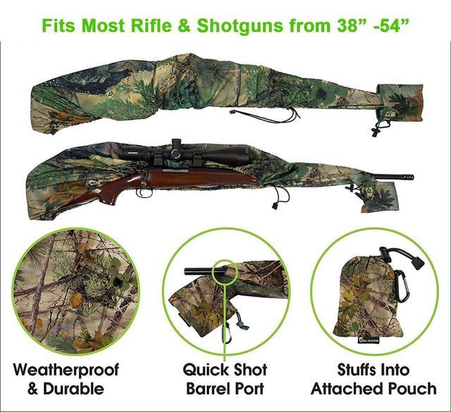 Gun Slicker Scoped Rifle Case, Water Resistance Camo Shotgun Case, Rifle Sleeve Cover Fast Gun Case for Shooting Hunting 6