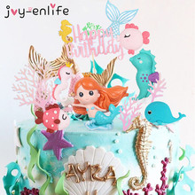 Little Mermaid Party Cupcake Wrappers Happy Birthday Cake Topper Birthday Party Decoration Under The Sea Theme Girl Party Supply