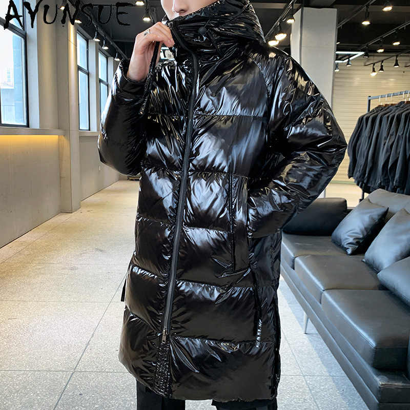 Mens Winter Down Cotton Padded Coat Shiny Jacket Hooded Parka Outwears Loose New