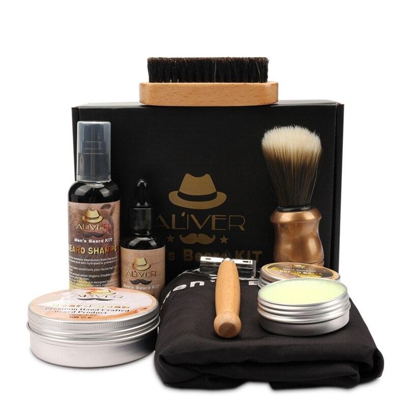 New Mens Beard Oil Kits With Scissor Comb Brush Beard Oil Styling Shaping Mustache Hair Growth Beard Styling Beard Care Set 4