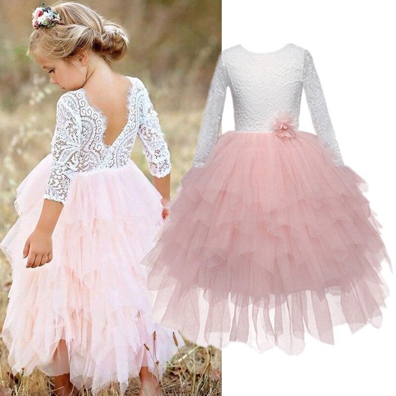 Girls Spring Lace Embroidery Princess Dress Kids Flower Fluffy Cake Smash Tutu Dress Children Wedding Birthday Party Costume 1