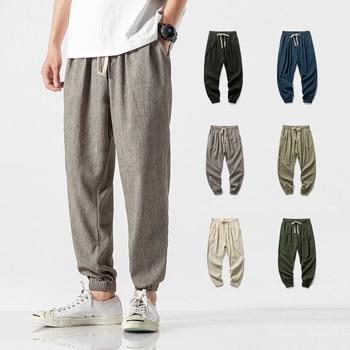 Chinese Style Harem Jogger Pants Men Cotton Linen Sweatpants Trousers Men Casual Lightweight Spring Summer Men Joggers 1