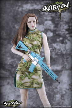 1/6 Camouflage Cheongsam Set for Female Seamless Large Mid Bust Body Figure 1/6 Scale Sexy Female MULTIFUN Toy Gift