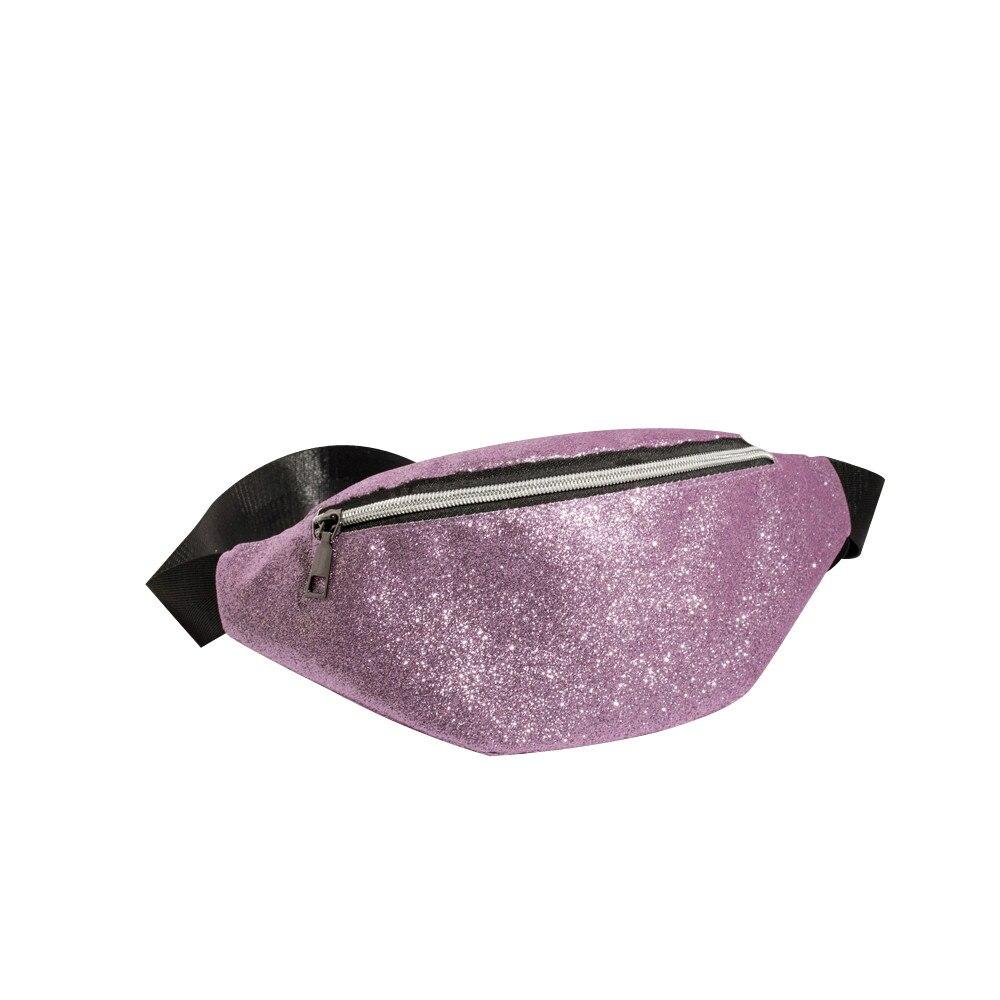 Women Fashion Neutral Laser Sequins Glitter Waist Bag Outdoor Fanny Pack Pouch Hip Purse Satchel Laser Waist Packs