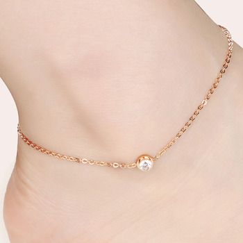 Rose gold plating Girl's Ladies Anklets for Women Ankle Chain Bracelet in Rose Gold Color Tone  Fashion Jewelry