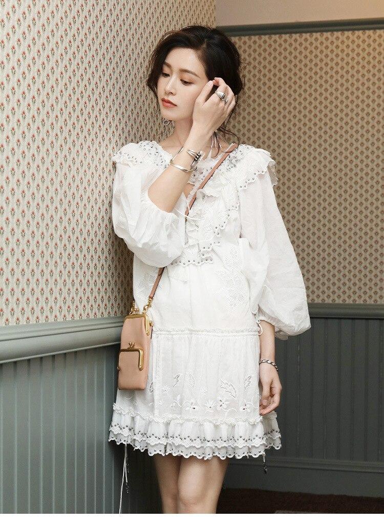 TVVOVVIN mode Europe robe femme automne et été nouveau 2019 femmes robe broderie col en v femmes vêtements C893 - 6