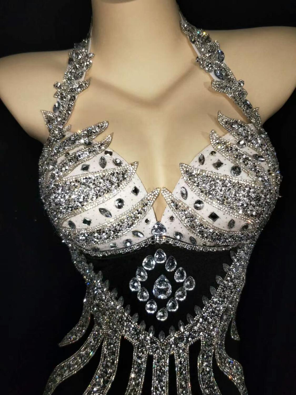 Купить блестящее серебряное платье стразы перчатки с бахромой наряд