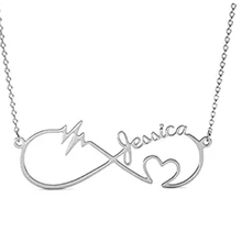 New Heart Infinity Necklace Personalized Engraved Date Numerals Nameplate Necklaces & Pendants Stainless Steel Jewelry