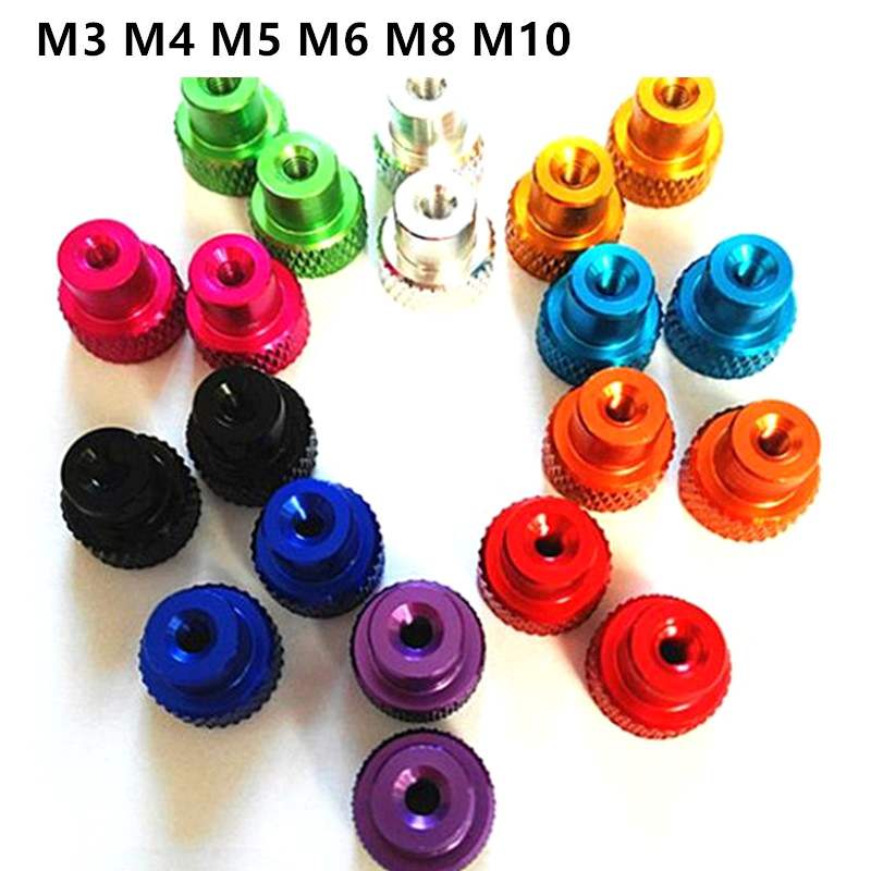 M3 <font><b>M4</b></font> M5 M6 M8 <font><b>M10</b></font> Hand Tighten Flange Nut Aluminum Knurled Hand Thumb Nuts For FPV RC Models image