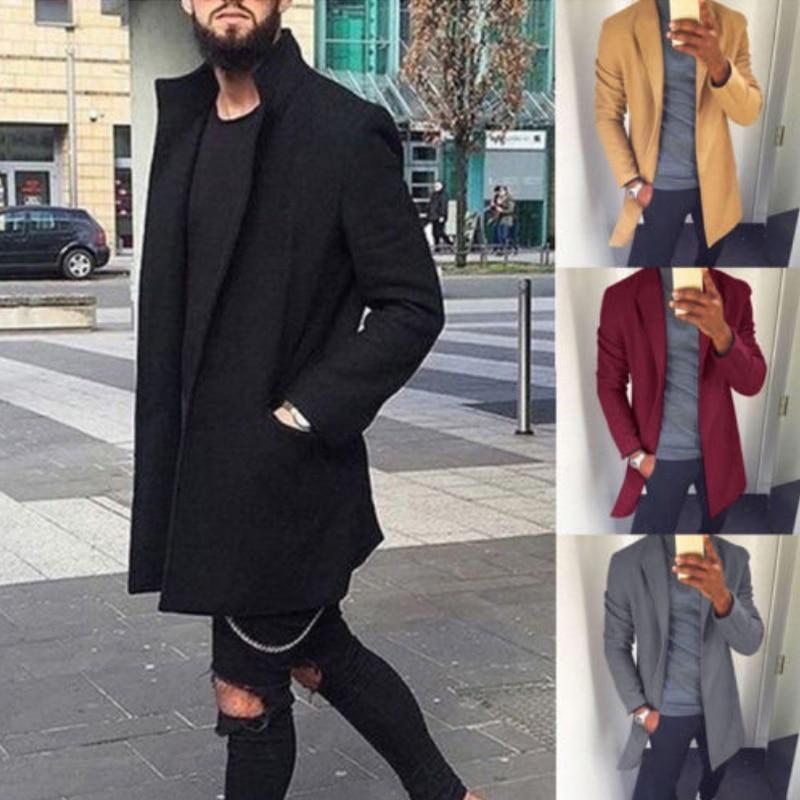 M-XXXL Autumn Winter Men Casual Coat Thicken Woolen Trench Coat Business Male Solid Classic Overcoat Medium Long Jackets Tops