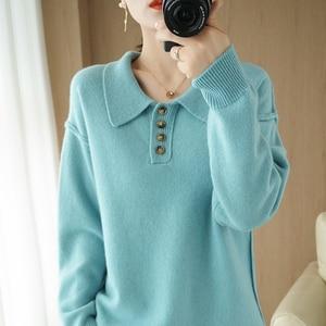 Winter Women's Sweater Turn-Down Collar Long Sleeve 100% Wool Female Pullover Sweaters Women's Jumper Clothes Pull Femme Kawaii