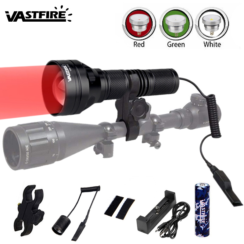 1200lm LED Flashlight Zoomable Strong Light Police Flashlights 18650 Torch White Red Green 3 In 1 Tactical Hunting Weapon Lights