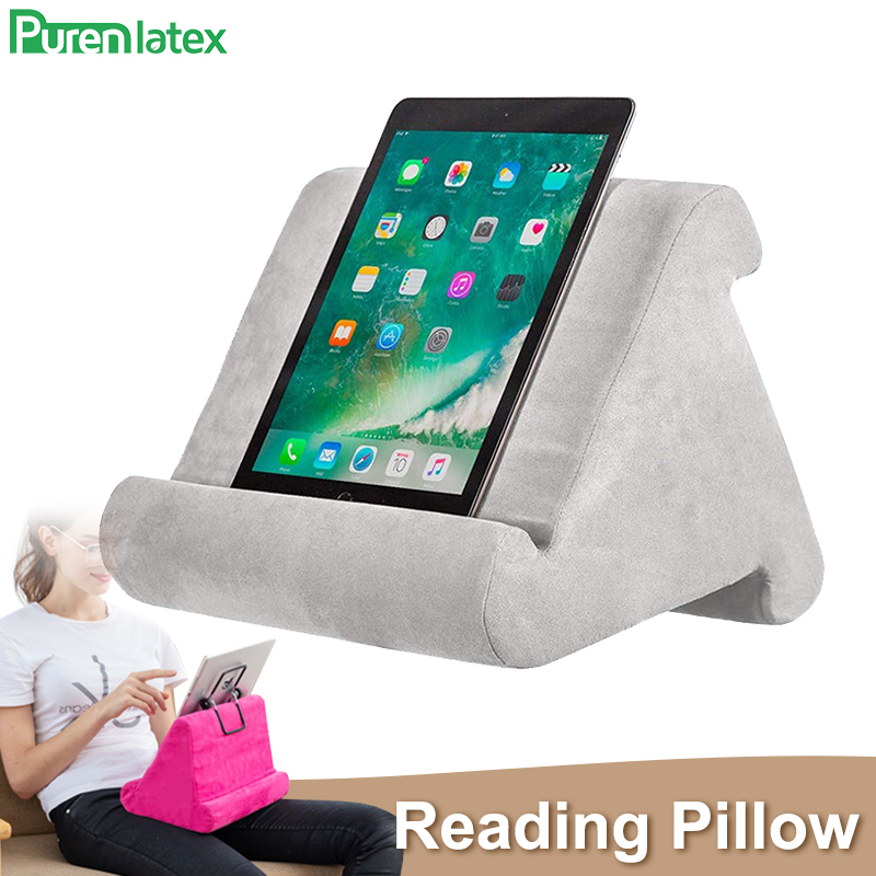Purenlatex Reading Bracket Soft Pillow IPads Phone Pillow Lap Stand Used On Bed Desk Car Sofa Lap Floor Multi Angle Soft Pillow