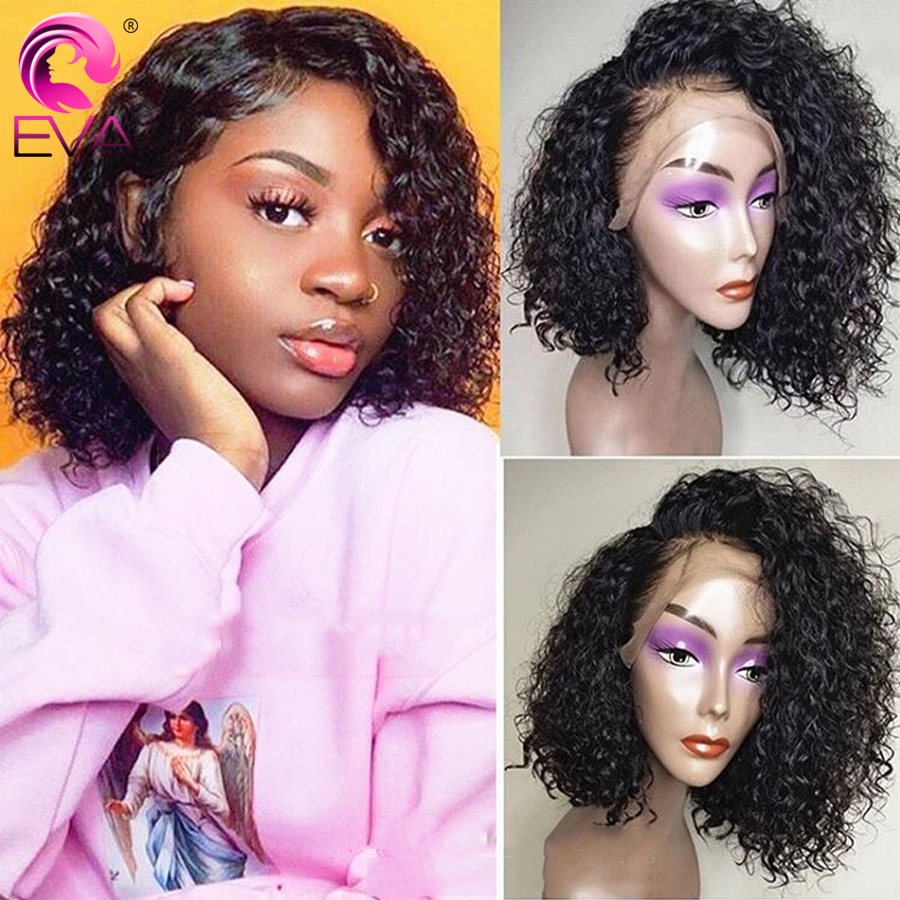 Eva Short Curly Lace Front Human Hair Wigs Pre Plucked With Baby Hair 13x4 Lace Front