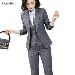 Lenshin Frauen Qualität Anzug Set Büro Damen Arbeit Tragen Frauen OL Hose Anzüge Formale Weibliche Blazer Jacke Weste hosen 3 stück