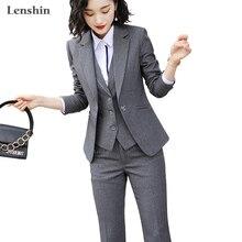 Lenshin kadınlar kalite takım elbise seti ofis bayanlar İş elbisesi kadın OL pantolon takım elbise resmi kadın Blazer ceket yelek pantolon 3 parça