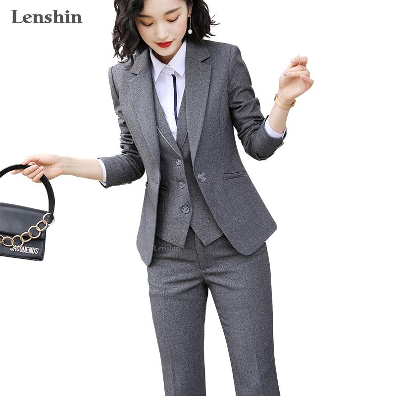 Lenshin женский Качественный костюм комплект Офисная Женская рабочая одежда женские OL брючные костюмы официальный женский Блейзер Куртка Жилет Брюки 3 штуки