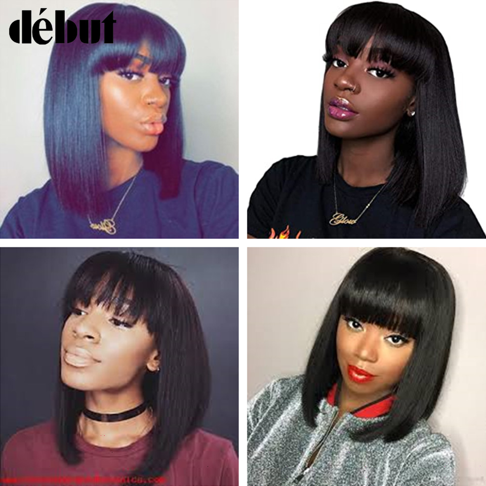 Debut Brazilian Human Hair Wigs Mink Silky Straight Short Human Hair Wigs F1b/99j Ombre Color Human Hair Wigs For Black Women