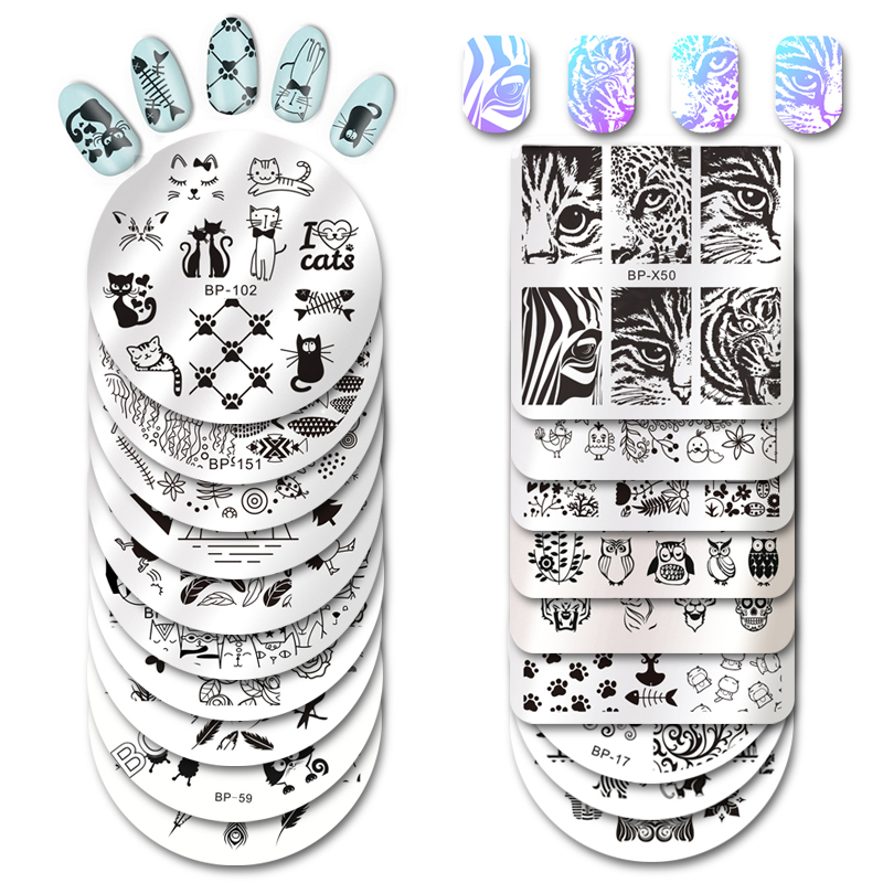 BORN PRETTY Square Nail Stamping Template Cat Tiger Leopard Eye  Nail Art Image Plate Nail Art Print Stencil BP-X50
