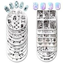 Né joli carré ongles estampage modèle chat tigre léopard oeil Nail Art Image plaque Nail Art impression pochoir BP X50
