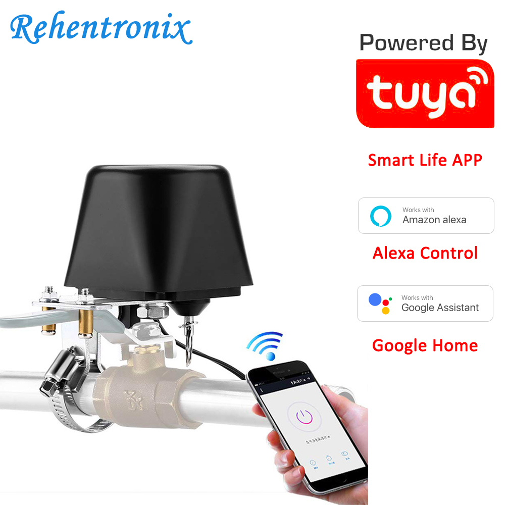 Tuya Amazon Alexa Google Assistant IFTTT Smart WiFi Control Gas Water Valve Smart Life WiFi Shut-Off Controller