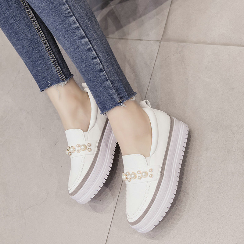 2019 Spring new women's sports shoes round head rhinestone thick sole shoes loose cake with running shoes sneakers women ZW-88