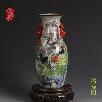 Pink Crane Fushou Picture Made by Jingdezhen Antique Porcelain in Qianlong Year