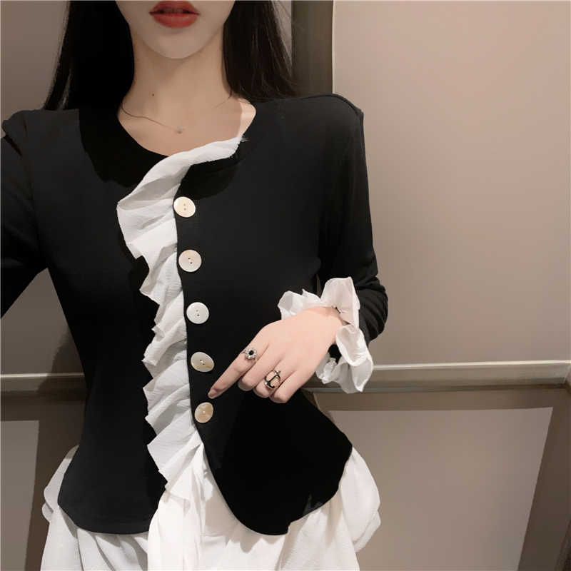 Vrouwen Zwart Wit Blouses Nieuwe Ruche Panel Shirt Dames Temperament Slim-Fit Tops Blouse Blusas Mujer De Moda 2020