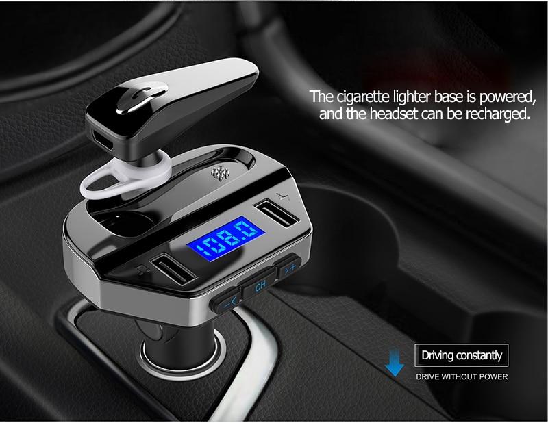 Σύστημα Ηandsfree με Ακουστικό, Fm Transmitter & Διπλό Φορτιστή USB Αυτοκινήτου Bluetooth με MP3 Player - Hands Free Car Kit FM