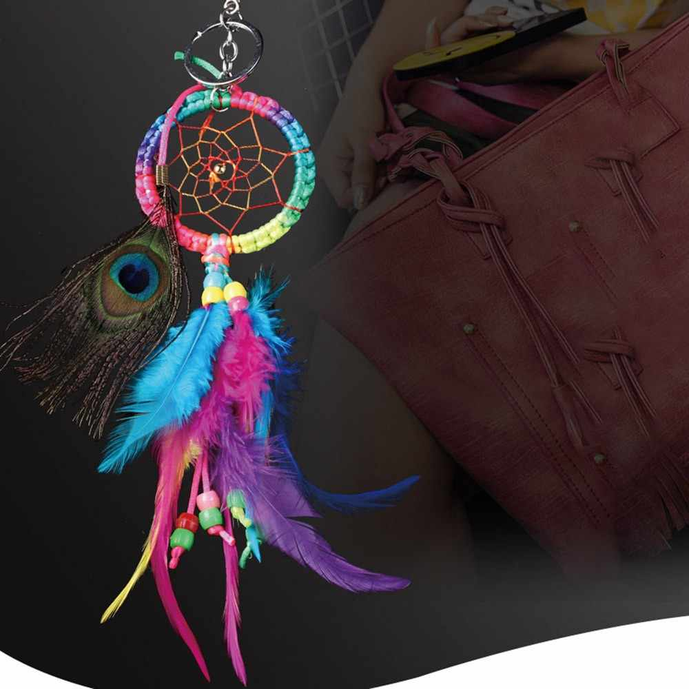 New colorful peacock hair keychain dream catcher bag decorative pendant car feather pendant Night Good Sleep Decoration