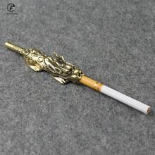 Fashion Copper money dragon head Cigarette Holder brass Finger Clip father Men S