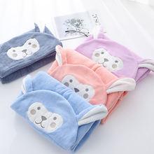 Детское полотенце с капюшоном удобный мягкий банный халат для