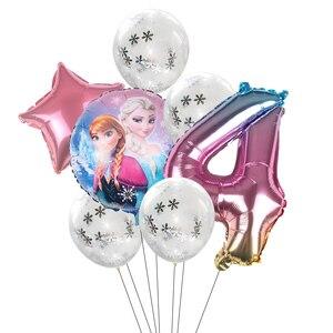 1 комплект, замороженные вечерние конфетти в форме снежинок, латексный воздушный шар, набор для взрослых, детей, для дня рождения, вечерние, Д...