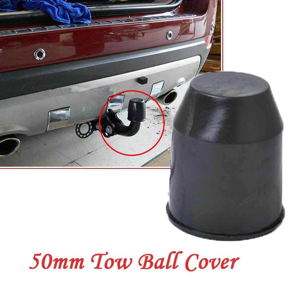 50mm Plastic Car Vehicle Truck Tow Ball Cover Cap Towing Hitch Trailer Towball Protect