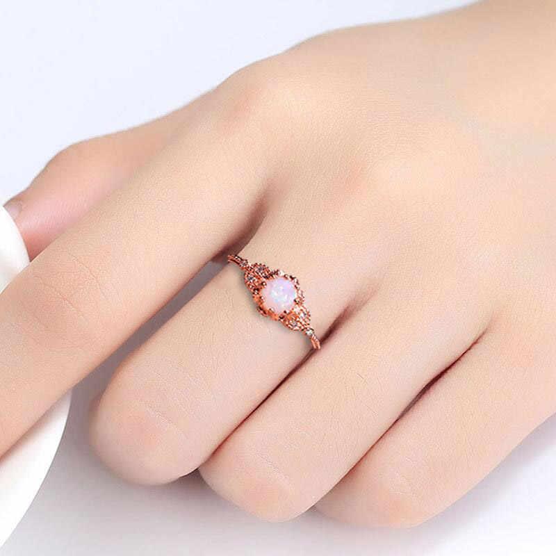 Cellacity 925 srebrny pierścionek z okrągłym kamieniem księżycowym/Opal kamień ślub biżuteria zaręczynowa ring Finger hurtowych pani prezent