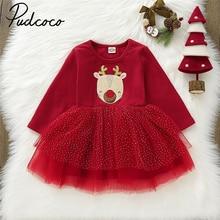 Pudcoco Autumn Kids Baby Girl Christmas Pageant Long Sleeve Tutu Tulle Princess