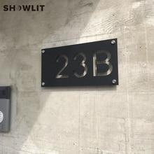Наружная черная номерная табличка для дома из нержавеющей стали
