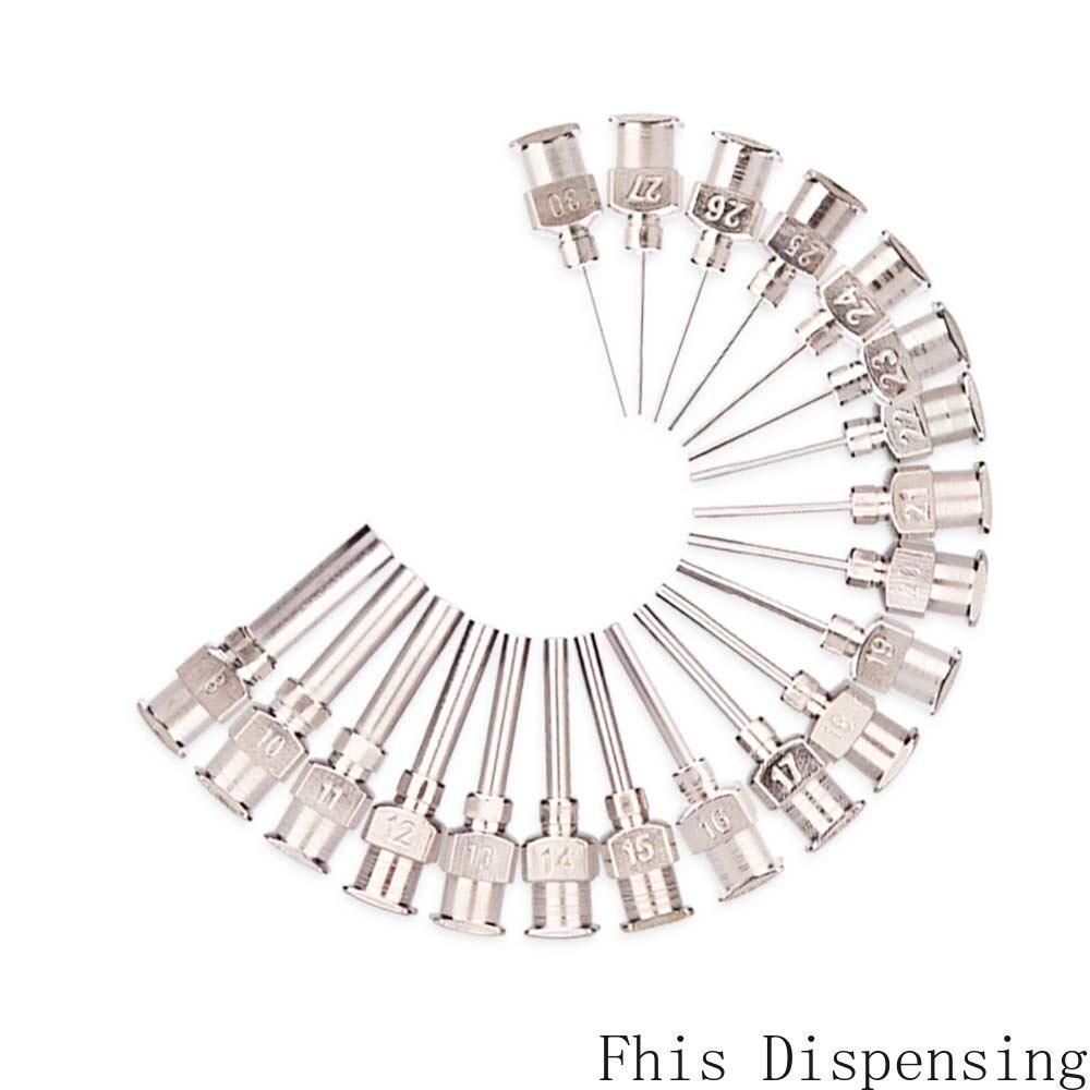 Pack Of 12 W/ISO Standard Dispensing Needle Blunt Tip 0.5 Inch Tubing Length Metal S.S 8G~30G