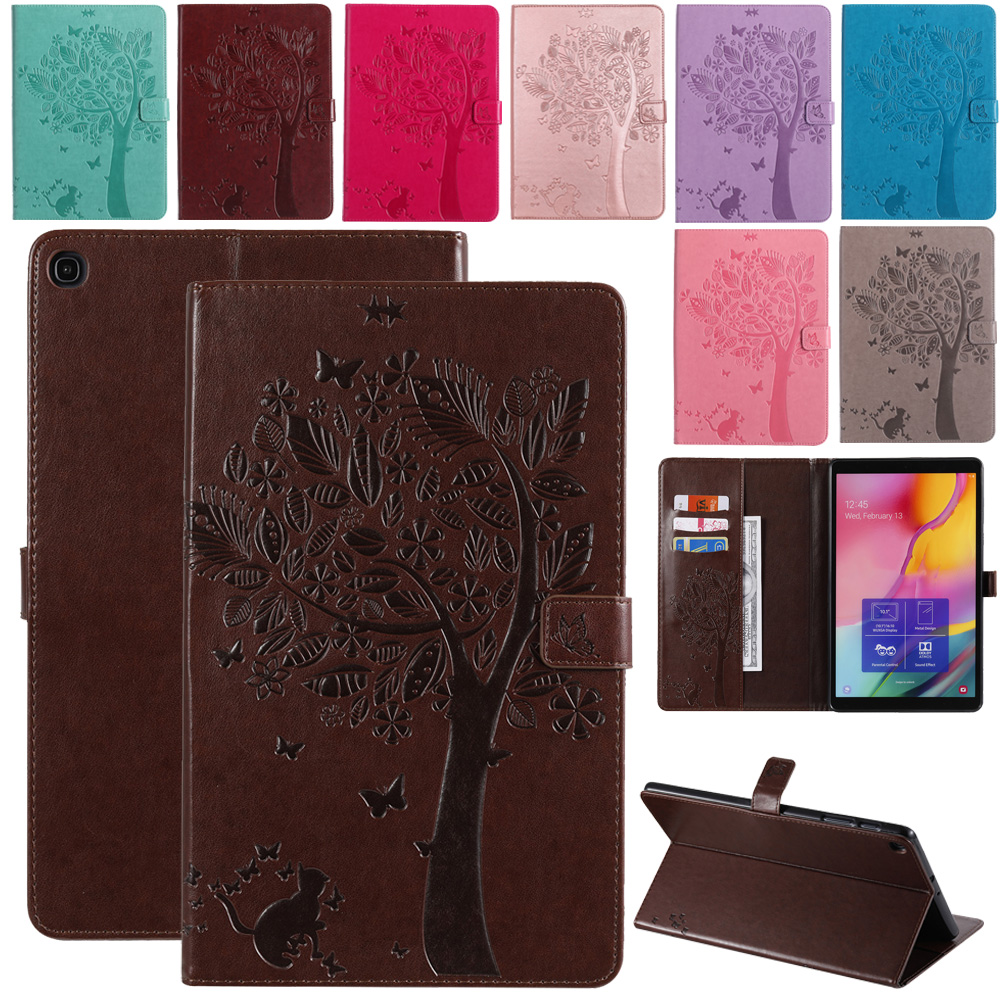 Tree Embossing PU Leather Tablet Protective Case For Samsung Galaxy Tab A 10.1 inch SM-T510 T515 2019 Shockproof Magnetic Case image