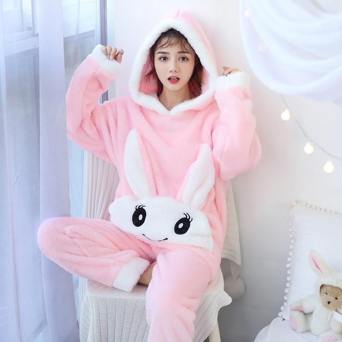 Christmas Pajamas Women WAVMIT Winter Wool Warm Velvet Thickening Flannel Sleepwear Set Cute Hooded Pajamas Loungewear Women 5
