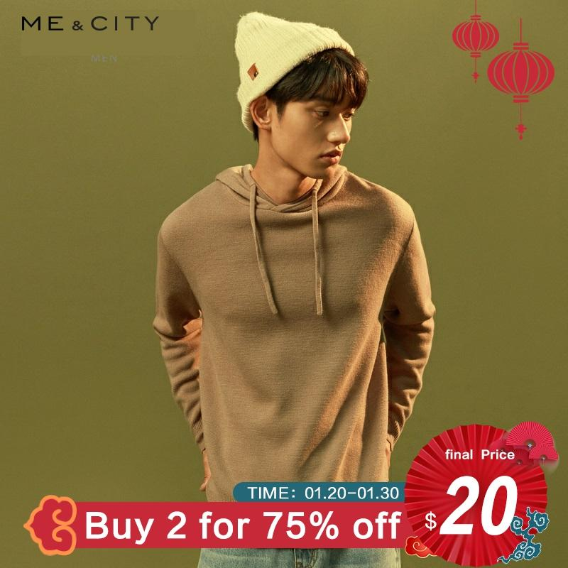 Me&city 2019 New Wool Knitted Basic Sweater Men Hooded Pullovers Autumn Winter Men Sweaters Warm Slim Fit Leisure Sweaters