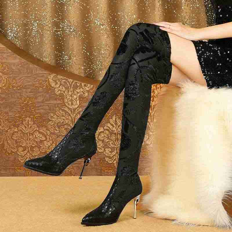 Maceta con estampado especial de piel de oveja con punta de gladiador tacones altos patrones de superestrella flor bandada sobre la rodilla botas L39
