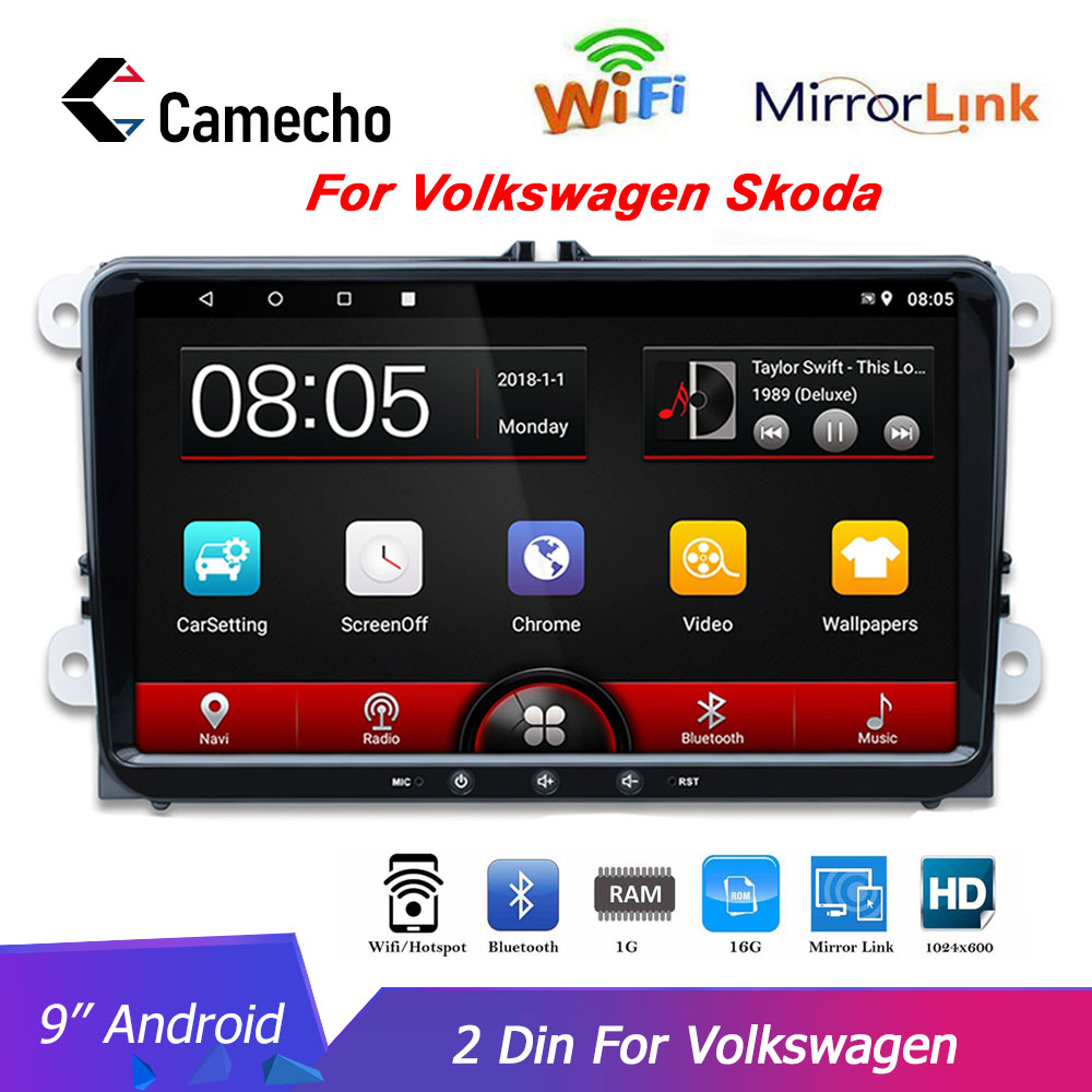 Camecho 2 Din Автомобильный мультимедийный радио GPS навигация 9 дюймов сенсорный для Volkswagen Skoda Fabia Altea Octavia Roomster WiFi автомагнитолы|Мультимедиаплеер для авто|   | АлиЭкспресс