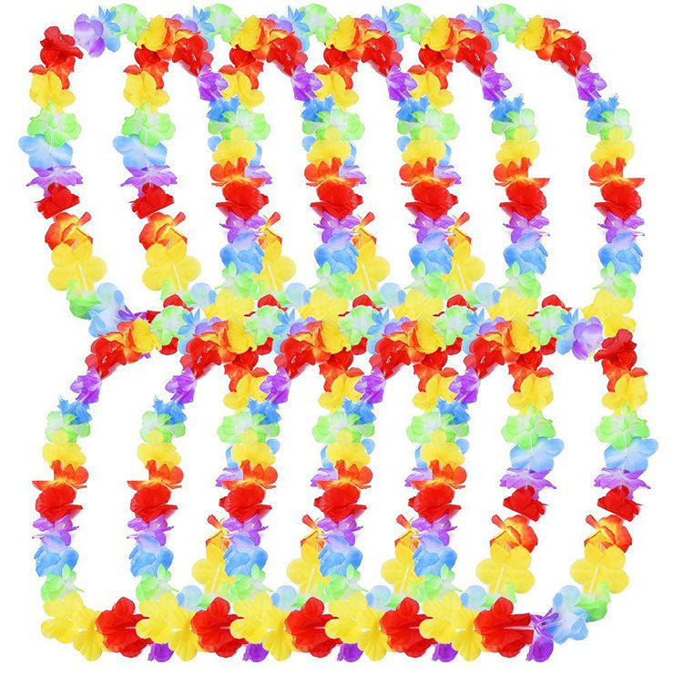 10pcs Hawaii Christmas Wreath Door Decoration Hawaiian Party Artificial Flower Garland Necklace Luau Torpil